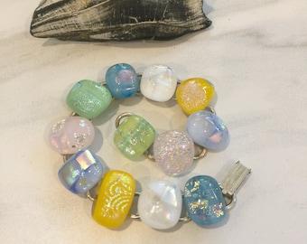 Colorful Dichroic Glass Bracelet, Multi-color Bracelet, Fused Glass Jewelry, Pastel Fused Glass Bracelet, Bracelette, Bracelett, DB1007