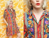 Colorful Romper // Floral Jumpsuit // 90s Koret Floral Short Sleeve Jumper Sunflower Wrinkle Fabric Collared Button Down Size Large
