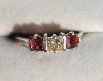 Champagne Diamond and Rhodolite Garnet Ring Sterling Silver Princess Cut Engagement Ring .50 ct Diamond