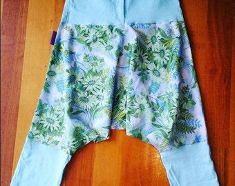 Pantaloons/ knickerbockers/ upcycled fashion/ festival wear/ boho/ hippie/ floral. Size 6 - 8.