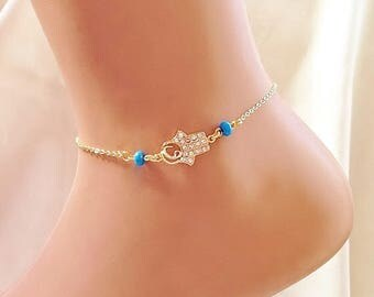 Gold Plated Rhinestone Hamsa Hand Ankle Bracelet, Birthday Gift, Gold Anklet, Beach Jewelry, Christmas Jewelry, Rhinestone Anklet, Body Jewe