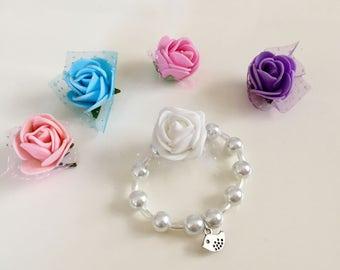 Stretch Pearl Little Bird Rose Bracelet, Bird Charm Bracelets, Flower Girl Gift, Baptism Gift, Baby Shower Bracelet, Christening Jewelry