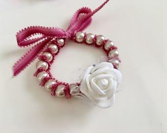 Champagne Pearl Bracelet,Bow Pearl Bracelet, Flower Girl Bracelets, baby dedication gift bracelet,Baby baptism bracelet, Christening