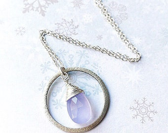 Faceted Periwinkle Chalcedony Sterling Silver Hoop Necklace