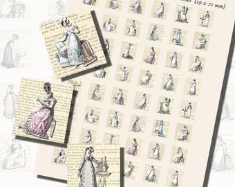 Jane Austen's World--Regency Fashions Printables, Part 2, SCRABBLE TILE SIZE (.75 x .83 Inches or 19 x 21mm), 48 Total,