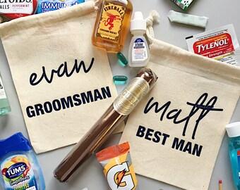 Best man and groomsman bag- hangover kit- survival bag- groomsmen kit- bachelor survival kit- hangover bag- groomsmen gift - best man gift