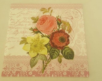 Napkin Decoupage, Flower Napkin, Paris Napkin, Collage, Mixed Media, Scrapbooking, Craft Projects