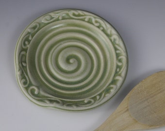 Spoon Rest, Spoon Holder, Winter Green, IN STOCK, ready to ship