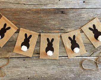 Burlap Easter Banner/Happy Easter Garland/Easter Bunny Banner/Spring Banner/Easter Decorations/Easter Bunting/Easter Photo Prop/brown bunny