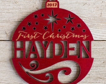 Personalized First Christmas Ornament from Solid Red Maple or Mahogany Wood