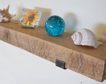 "Reclaimed Wood Shelf 30"" x 8"" x 3"" Whitewash Rustic Forged Steel Metal Lip Brackets Barn Beam Distressed Beam Picture Ledge Display"