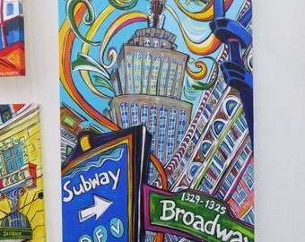 The Empire State Building - An 18x36 Inch Original Acrylic Painting - NYC Cityscape Painting - Pop Art - Color Your World