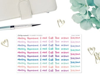 Functional Planner Stickers - Daily Work Handlettered Wordings Kiss Cut Stickers