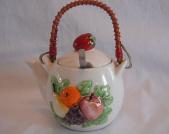 Sugar Bowl Hand Painted Tea Pot  With Fruit, Strawberries, Apples, Oranges, Pears