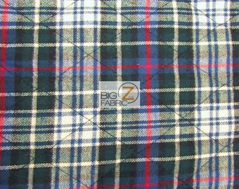 "Tartan Plaid Flannel Quilted Foam Fabric - BRISTOL - 60"" Width Sold By The Yard DIY Clothing Apparel Light Upholstery"