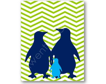 Penguin Family Chevron Poster Print, Penguin Nursery Gift, Baby Shower Penguin Gift, Penguin Baby Art, Penguin Family Canvas, Penguin Art