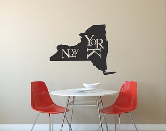 New York State Wall Decal, Artsy New York State Wall Vinyl Sticker, New York