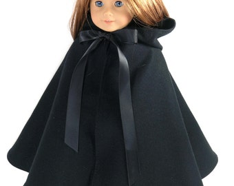 Handmade 18 inch Clothes for American Girl Doll - Black Wool Cloak, Cape