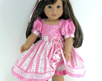 Handmade Doll Clothes for American Girl - Dress, Headband, Bloomers - Pink Hearts, Dots - Shoes, Socks Option