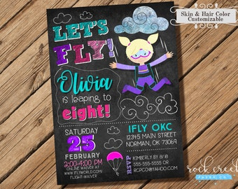 Skydiving Invitation, Parachuting invitation, Skydiver Birthday, Freefalling, Printable Birthday Party Invitation