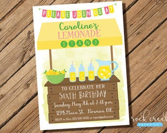 Lemonade Stand Invitation, Lemonade Party, Pink Lemonade Party, Pink Lemonade Invitation, Printable Birthday Party Invitation