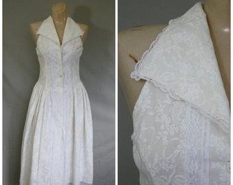 Sale Vintage Gunne Sax Dress / 1980s Gunne Sax Dress / Ivory Cotton Dress / Vintage Day Dress / Summer Dress / Swing Skirt Dress S/M