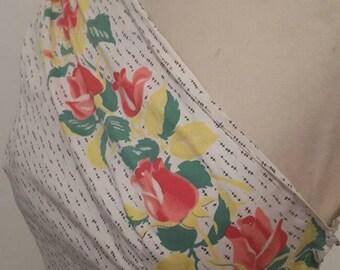 Reserved xxcGorgeous Vintage c 1950's Cotton One shoulder border print floral dress
