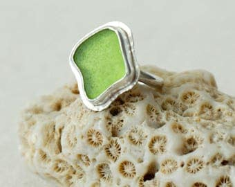 Lime Green Sea Glass Ring, Size 6 1/2 - Genuine Sea Glass - Natural Sea Glass - Sterling Silver