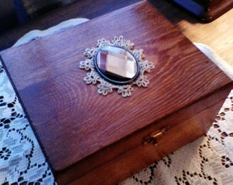 Wooden Keepsake Box,  Vintage Look, Stained, Hand Decorated, Home Decor,  Antique Lace Lined Gem