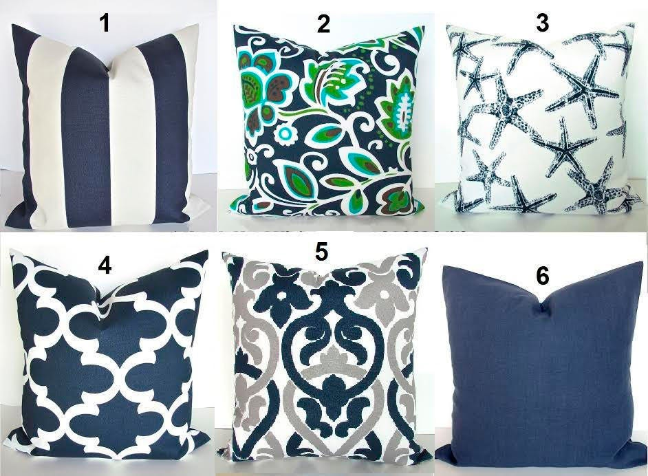 BLUE OUTDOOR PILLOW Covers Navy Blue Throw Pillow Throw
