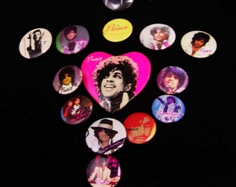 1980's prince collection 14 vintage pinbacks Musician gift rock n roll set Purple rain badge