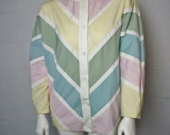 Vintage ladies retro 80's Marquerite Rubel pastel multi colored chevron striped lightweight jacket
