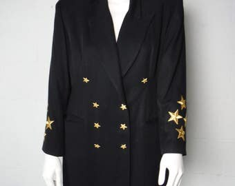 Vintage 90's Black Cache Ladies Star Embroidered Double Breasted Fully Lined Blazer Jacket Size 12 Made In The USA