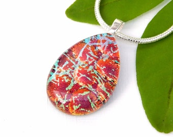 Candy Apple Red Dichroic Glass Pendant with Neon Highlights, Fused Glass Jewelry, Russet Art Glass Necklace