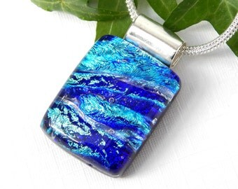 Blue Dichroic Glass Pendant, Fused Glass Jewelry, Mixed Blues Art Glass Necklace, Best Friend Gift, Mothers Day Gift