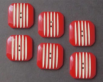Casein buttons, a set of 6, Art Deco, vintage.  Cherry red, square with vertical white stripes, 2 hole sew-thru's. c1930's.