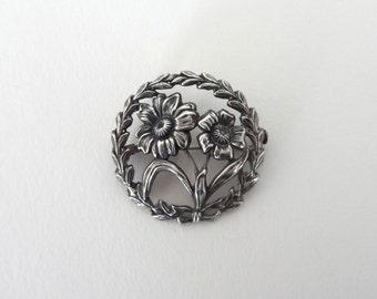 Sterling Silver Art Nouveau Flower Brooch