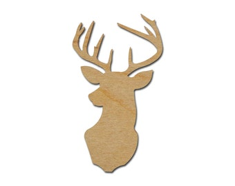 "Deer Shape Unfinished Wood Buck Craft Cutout 5"" Inch Tall"