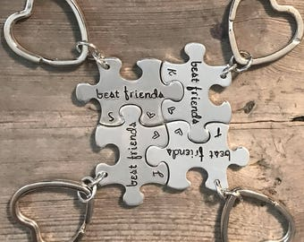 Hand Stamped, Puzzle Piece, Key Chain, Personalized Puzzle, Name, I love you, I love you more, Best Friends, BFF, Anniversary Gift, Couples