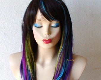 Black / Rainbow Ombre wig. Durable Heat friendly wig for daily use or Cosplay.