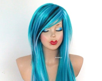 Scene wig. Teal blue / Baby blue / Turquoise /Black wig. Heat friendly synthetic wig for daily use or Cosplay.