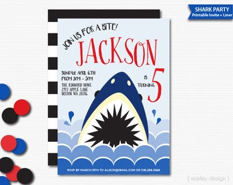 Shark Invitation Printable Shark Party Under the Sea Party Invitation Digital Shark Invite Boys Birthday Invitation Shark Birthday Invite