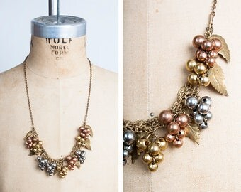 1930s Copper, Silver and Gold Toned Bacchanal Grape & Leaf Necklace