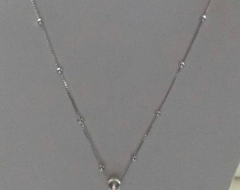 Long Silver Bead Chain with Red Howlite Spike Pendant and Round Silver Bale