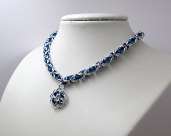 Royal Blue and Silver Necklace with Rose Pendant– Byzantine Chainmaille - Nickel Free Chain Necklace - Handmade Chainmail