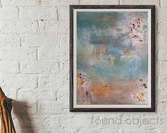 Mixed Media Original Abstract Modern Wall Art Hanging Found Objects: Desert Blue Textured Free Shipping US Stretched Canvas Ready to hang