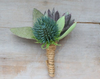 Thistle Boutonniere with Succulents - Pack of 4