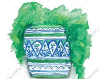 Blue and Green Pot Watercolor Original Painting