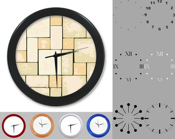 Natural Stone Design Wall Clock, Block Design, Earthy Rock Wall, Customizable Clock, Round Wall Clock, Your Choice Clock Face or Clock Dial
