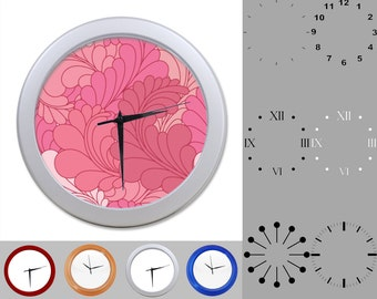 Pink Feather Wall Clock, Abstract Fun Design, Floral Artistic, Customizable Clock, Round Wall Clock, Your Choice Clock Face or Clock Dial